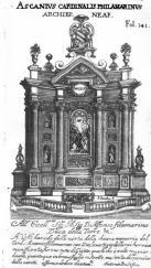 Francesco Borromini, Filomarino altar, Santi Apostoli, Naples, begun c. 1635 Source: Pompeo Sarnelli, Guida de'forestieri...di Napoli, 1685 / Google Books
