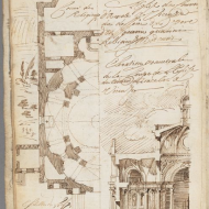 Gilles-Marie Oppenord, Recueil de plusieurs morceaux d'architecture des differents maistres italiens : manuscript, 1698. MS Typ 206. Houghton Library, Harvard University, Cambridge, Mass. Page f. 21v. (seq. 44) Source: http://nrs.harvard.edu/urn-3:FHCL.Hough:17533307?n=44