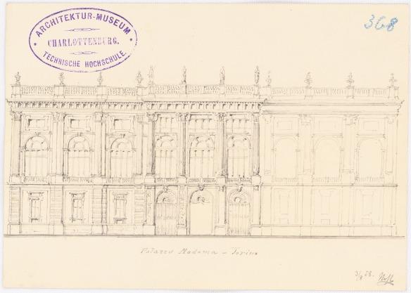 Nohl Maximilian (1830-1863), Palazzo Madama, Turin: Ansicht. Bleistift auf Karton, 12,2 x 17 cm. Architekturmuseum der Technischen Universität Berlin Inv. Nr. 13895.