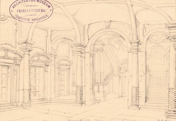Nohl Maximilian (1830-1863), Palazzo Barolo, Turin: Perspektivische Innenansicht. Bleistift auf Papier, 20,6 x 30,7 cm (inkl. Scanrand). Architekturmuseum der Technischen Universität Berlin Inv. Nr. 13931.