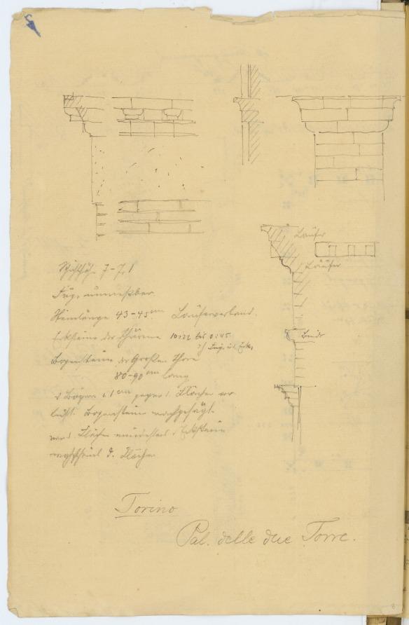 Stiehl Otto (1860-1940), Skizzen- und Fotoalbum 4: Palazzo delle due torri, Turin: Details. Bleistift auf Papier, (inkl. Scanrand). Architekturmuseum der Technischen Universität Berlin Inv. Nr. 57189,008.