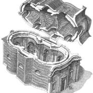 Guarino Guarini, Immacolata Concezione, Turin, cutaway view | Source: Città e cattedrali